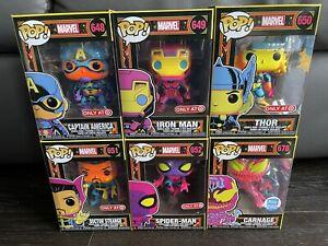 Funko POP Marvel Black Light - Carnage Spider Captain - Exclusive Lot (Set of 6)