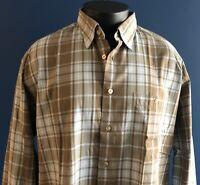 Ike Behar New York XL Long Sleeve Button Down Shirt Brown Blue Plaid 100% Cotton