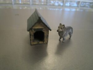 VINTAGE CAST MINITURE CAST DOG HOUSE AND DOG