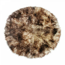 Lambskin Rug Circle Stracciatella Long Wool Real Merino Sheepskin