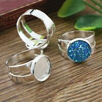 1 Gold Plated Adjustable Rings with 2 Stone Settings Adjustable Ring Settings Pad Size 10x12mm N133 Q239
