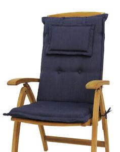 Auflage Sitzkissen Sitzpolster Polsterauflage Hochlehner Sessel blau