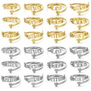 12 Constellations Letter Stainless Steel Heart Open Finger Rings Jewelry Women