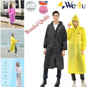 Raincoat Waterproof Reusable Plastic Adult Camping Festival Rain Coat UK LOT