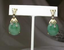 Jade 6 Diamond Earrings 14K Gold China Retro Antique Estate Jewelry Natural Jade