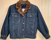 Carolina Blues GIRLS Size LARGE Blue Jean Denim Jacket w/Leopard Trim EXCELLENT