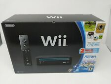 Nintendo Wii Black Console Wii Sports + Wii Resort + Motion - Complete in Box!