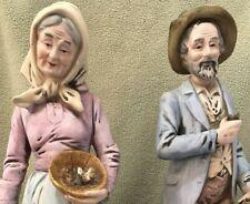 """Farm Couple Homco 14"""" Figurines Porcelain Bisque Vintage"""