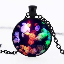 Jellyfish Black/Bronze/Tibet silver glass dome chain Pendant Necklace