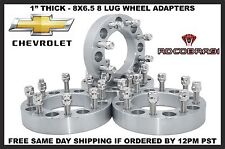 Complete Set 8 Lug Spacers 8x6.5 Silverado 1 Inch Thick Wheel Adapters Fast Ship