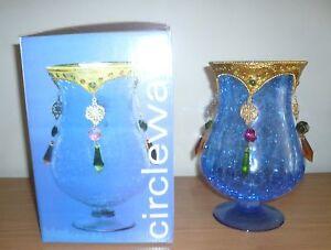 "New Circleware 9"" Decorative Blue Vase NIB Made in India"