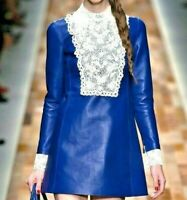 $9600 VALENTINO Embellished Leather Embroidered Collar ALine Dress US 8 10 IT 46