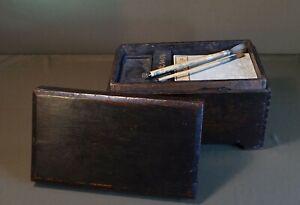 Rare 19th Century Korean Joseon Dynasty Scholar Ink Stone Box Memo Inscribed