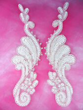 0016 Bridal Appliques Ivory Mirror Pair Beaded Sequin Sewing Patch 8.5""