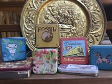 Vintage Fossil brand watch tins lot of 7 collectible empty great condition