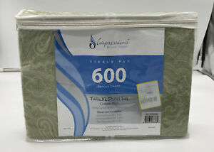 Twin XL Sheet Set, 600 TC,55% Cotton. One Flat, Fitted, One PillowCase