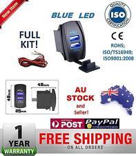 Dual USB Port Car Charger Carling Rocker Switch Landcruiser Prado Hilux BLUE
