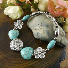 NEW Free shipping Jewelry Tibet silver jade turquoise bead DIY bracelet S269