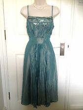 Monsoon Green Viscose Fit & Flare Summer Occasion Pleated Midi Dress Size 12