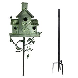 Birdhouse Multi Bird 3 Units Living Tin with 4 Prong Stake