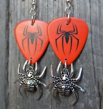 Spider-Man Emblem Guitar Pick Earrings with Spider Charm Dangles