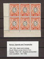 Kenya Uganda Tanganyika 1938-54 SG 139a MNH Block Cat £330