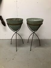 Pair of 1960s Kimball Bullet Planters with Iron Bases