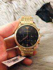 NEU Emporio Armani AR1893 Herren Uhr Armband Chronograph Edelstahl Gold Schwarz