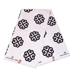 African print fabric White / Black Adinkra symbols 3 / 100 % cotton flock print