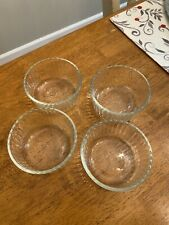 Set 4-Pyrex Sculpted Ribbed 7202 1 Cup Round Glass Storage Bowls Microwave Oven