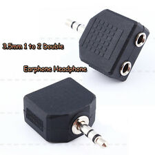 3.5mm Audio Plug Headphone Earphone 1 to 2 Earbuds Double Adapter Splitter ajk