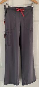 "Carhartt Regular XS Women's Gray Scrub Pants 30"" inseam Scrubs Pink Ties C52110"