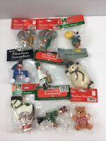 Vtg Christmas Decorations Lot of 9 Trimmings Revco Kurt Adler Bradford Wood NOS