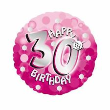 "Pink Sparkle Happy 30th Birthday 18"" Helium Foil Balloon Party Decorations"