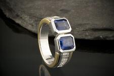 Schmuck Designer Ring 2 x Carré Saphir & Baguette Diamanten 750er Gold Bicolor