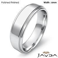Wedding Band Women Plain Flat Step Solid Ring 6mm 14k White Gold 6.1gm Sz 4-4.75