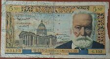 Billet 5 nouveaux francs VICTOR HUGO 4 - 2 - 1965 FRANCE G.132 (cf photos)