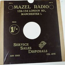 "12"" 78rpm gramophone record sleeve MAZEL RADIO London Rd Manchester"