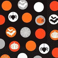 MODERN HALLOWEEN BEVERAGE NAPKINS ORANGE BLACK BATS SPIDERS PUMPKINS 2 PLY X 16