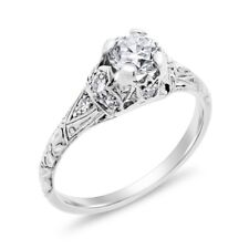 0.77 Ct. Natural Euro Diamond Vintage Etched Engagement Ring In Solid Platinum