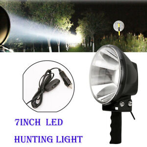 7Inch LED Hand held Camping Spot Light Spotlight Hunting Fishing OffRoad Round