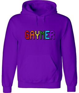 8-Bit Gaymer Gay video Gamer LGBTQ Rainbow Flag Unisex Funny Hoodies Sweatshirts