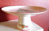 Christmas Cake Plate Himark Saltera Japan Porcelain Footed Holiday Vintage Stand