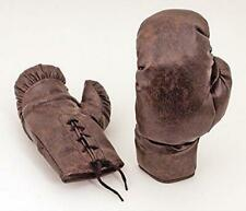 Vintage Style Brown PU Leather-Look 10oz Lace Up 1930's Boxing Gloves