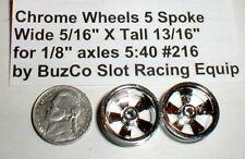 "5 Spoke Wheels Chrome Mags 1 Pr #216 by Buzco NOS Slot Car 5/16"" X 13/16"" 1/24th"