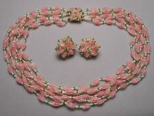 1950s Vendome 6 Strand Necklace & Earrings -  Pink Art Glass & Green Seed Beads