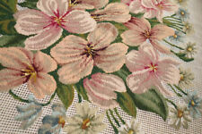 "32"" X 31"" Petit Point Pink Rose With Blue Ribbon Preworked Needlepoint Canvas"