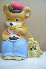 """Vintage Jasco Critter Bells Bisque Porcelain Bear Figurine With Tag 4.5"""" Tall"""