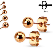 Pair of Hollow Ball End Gold IP on 316L Stainless Steel Stud Earrings 20g