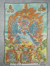 "36/"" Tibet Buddhism Silk Satin Cloth bai Buddha lucky Thangka Embroidery Mural"